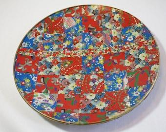 Bright Asian Quilt Decoupaged Glass Platter