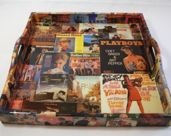 Vintage Record Cover Decoupaged Tray