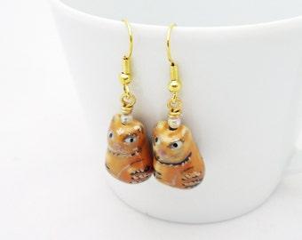 Handmade Earrings, Ceramic Earrings, Ginger Cat Earrings, Handpainted Earrings, UK Seller