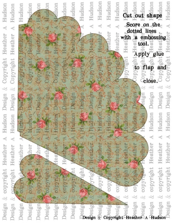 Romantic Roses Blue Green Victorian Vintage Valentine's Day Heart Shaped Cone Tussie Mussie Digital Collage sheet Printable