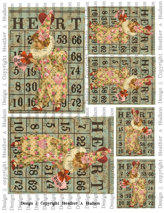 Victorian Vintage Shabby Roses  Valentine's  Clown Bingo Card Focals ATC Digital Collage sheet Printable