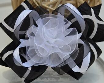 Black girl hair clip - girl hair clips - flower hair clips - girl barrettes - boutique hair bow.