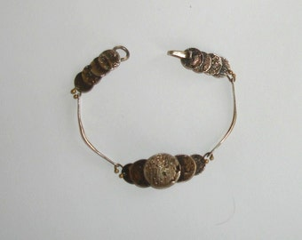Antique Victorian Sterling Silver & Brass Cast Faux Stacked Ancient Coins Artisan Bracelet- STEAMPUNK