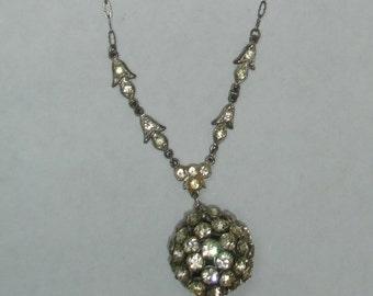 Vintage Silver Plated Metal Art Deco Depression Era Rhinestone Necklace with Rhinestone Dangle Ball Pendant