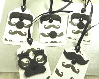 5 Mustache Gift Tags, Black and White, Father's Day, Birthday, Men, For Him