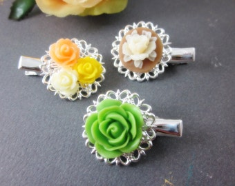 Flower Hair Clips. Set of 3.  Lovely green, ivory yellow, peach roses silver plated filigree alligator hair clips.