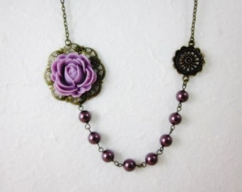 Lilac Rose with lavender swarovski pearls Necklace. Gift for her. Anniversary, Birthday, Bridesmaids, Maid of Honor.