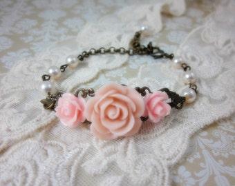 Pink Roses with cream swarovski pearls Bracelet. Bridal jewelry.  Bridesmaids Gifts. Wedding