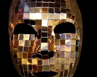Venice Carnival Full Face Luxury Gold Mirror Mask