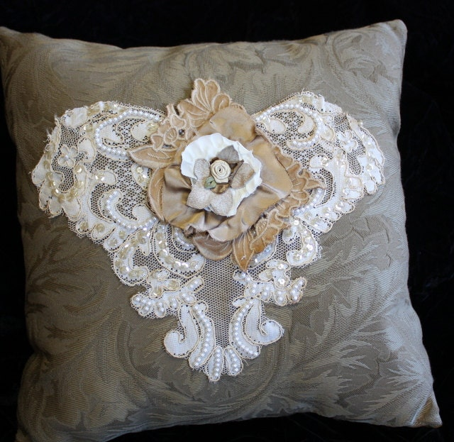 Shabby Chic Pillows On Etsy : Shabby Chic Victorian Style Pillow Vintage Lace One of a kind