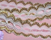 WHOLESALE Gold Lace Trim 80 Yards Beading 1-3/8 inch wide Lot B15 Added Items Ship No Charge