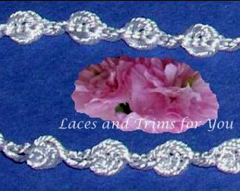 White Lace Trim 7/14 Yards Braided Rosebud Chain 1/4 inch wide Lot N54 Added Items Ship No Charge