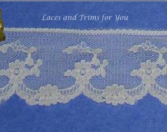 Ivory Lace Trim 10/20 Yards Vintage Floral 1-3/4 inch wide Lot J69 Added Items Ship No Charge