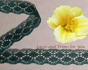 Dark Green Lace Trim 12/24 Yards Scalloped 3/4 inch wide Lot R125 Added Items Ship No Charge