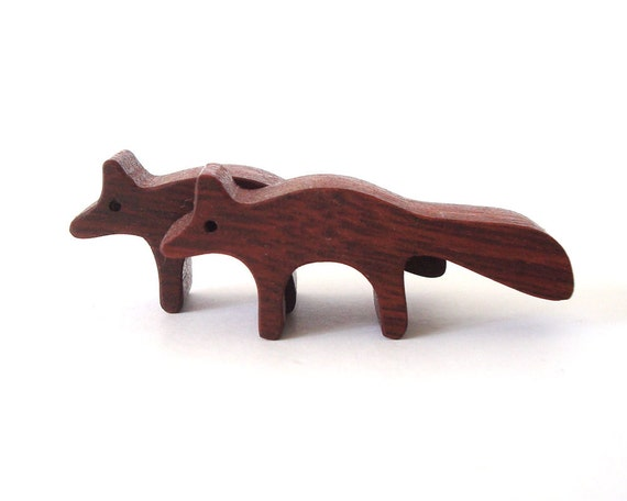 Waldorf Toys Wood Fox Pair Miniature Noah's Ark  Zoo Woodland Play Set Hand Cut Scroll Saw