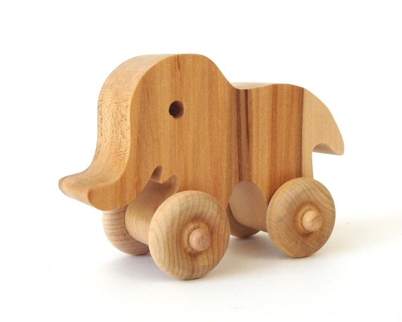 African Elephant Toys For Boys : Elephant wood push toy wheeled african wooden animal basswood
