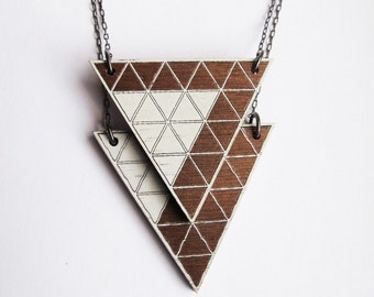 Wood Locket, Geometric, Diagonal Top, Laser Cut