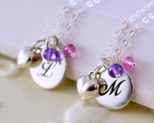 Mother Daughter Necklace Set, Sterling Silver, Set of Two, Genuine Gemstone, Custom Made Birthstone Jewelry for Girls