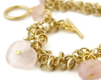 Women's Gift, Gold Charm Bracelet, Link Bracelet,Gold Chain Bracelet, Gold Lucky Charm Bracelet with pearls and rose quartz