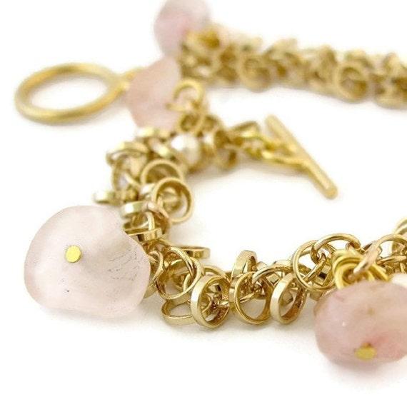 Women's Gift, Gold Charm Bracelet, Link Bracelet,Gold Chain Bracelet, Gold Lucky Charm Bracelet with pearls and rose quartz