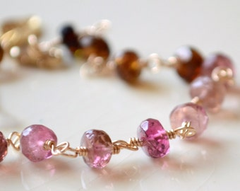 Women's Tourmaline Jewelry, Pink and Brown Gemstone Bracelet, Gold Vermeil, Leaf Charm, October Birthstone Free Shipping