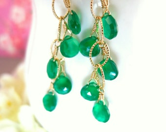Emerald green onyx chandelier drop chain earrings, St Patricks day green onyx chandelier earrings, Christmas gift gold chandelier earrings