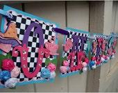 Handmade Banner - Custom made - GO GREEN - Happy Birthday Baby Shower Bridal Shower Alice in Wonderland Tea Party