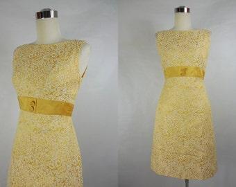 1960's Vintage Lemon Yellow Brocade Shift Dress by Jr. Theme