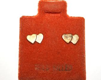 Vintage 14kt Gold Filled Double Heart Love Earrings
