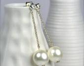 White Pearl Stud Earrings, Ivory Pearl Dangle Earrings, Swarovski Jewelry