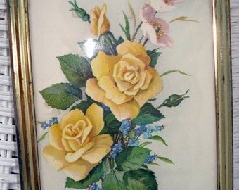 Shabby Framed Yellow Rose Print