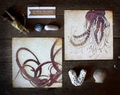 Set of 2 5x5 Undersea Eden marine life digital art prints, Octopus, Jellyfish, nautical decor, purple, beach, ocean, sea, square art