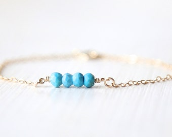Turquoise Dream - 14K gold filled bracelet - simple everyday delicate jewelry
