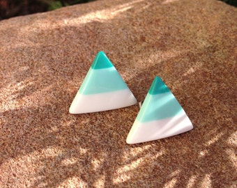 Vintage Turquoise Earrings Triangle Earrings on Posts