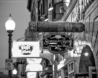 BOSTON NORTH END Cigar Salon Photo, Massachusetts Travel Print New England Art Black White Buildings Architecture City Street