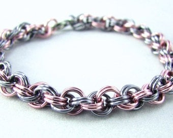 Melissa Chainmaille Bracelet - Pink and Black Ice