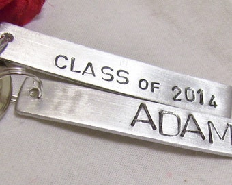Hand stamped, Class of 2014, with graduates name, graduation gift, boy graduate, girl graduate