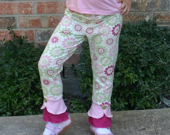 pink green and cream floral print scalloped bottom knit leggings sizes 12m - 14 girls