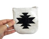 Aztec Coin purse made with Leather, worn out screenprinted effect, black cross, boho style