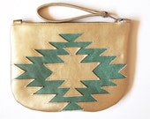 Aztec Clutch. Gold Leather Purse Navajo Style Boho Clutch