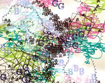 """Language 12, small, abstract, original, 6"""" x 8.5"""" drawing"""