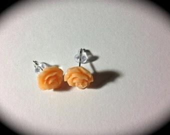 Resin rose earrings