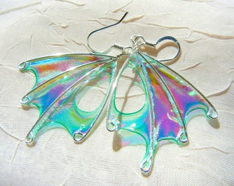 Absinthe Fairy Wing Earrings, Teal Earrings, Green Wing Earrings, unique silver earrings, OOAK