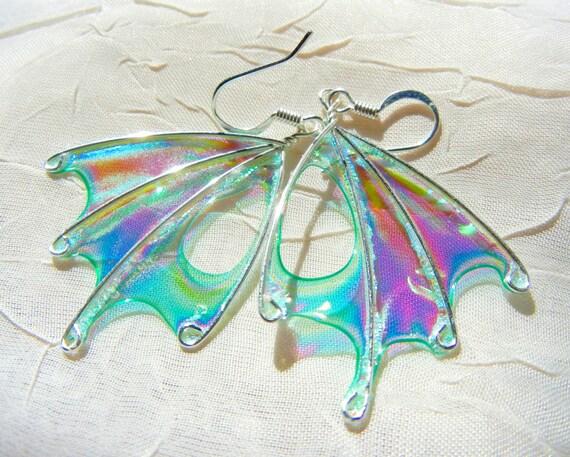 Absinthe Fairy Wing Earrings, Teal Earrings, Green Wing Earrings, unique silver earrings, OOAK