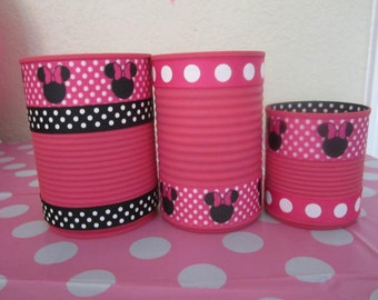 Set of (3) MINNIE MOUSE CANS Decrated in Pink and White Polka Dots.
