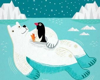 Hitching A Ride - Polar Bear - Penguin - Animal Art - Children's art - Children's Decor - Art Poster Print by Oliver Lake iOTA iLLUSTRATiON
