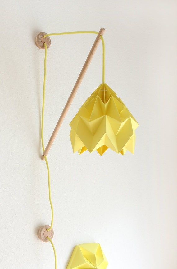 Wall fixture klimoppe with paper lamp moth - Paper light fixtures ...