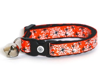 Halloween Cat Collar - Spiders on Orange - Small Cat / Kitten Size or Large Size