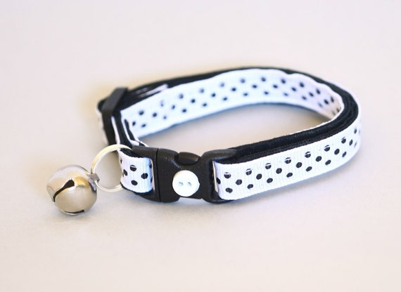 Polka Dot Cat Collar - Black on White - Small Cat / Kitten Size