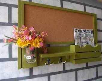 Large Corkboard--Message Center--Letter holder--Magazine Holder--2 Double Hooks--Mason Jar Vase--Message Board